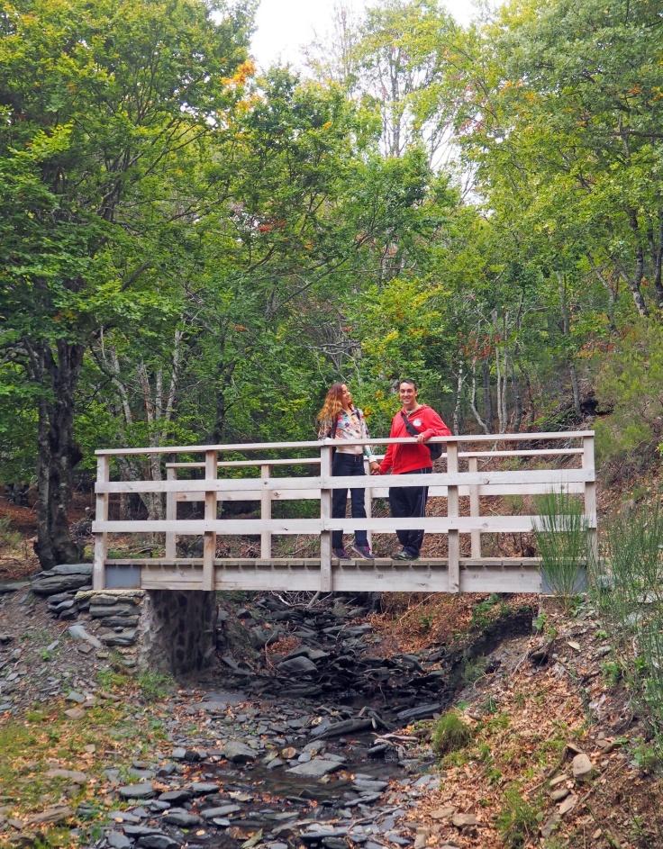 Puente de madera para cruzar uno de los riachuelos que discurren por la senda.